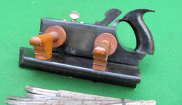 Handled Ebony and Boxwood Plow Plane w/ Cutters
